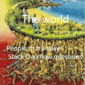 World, Answer, and Questions: The world  People that answer  Stack Overflow.questions We wouldn't be here without them