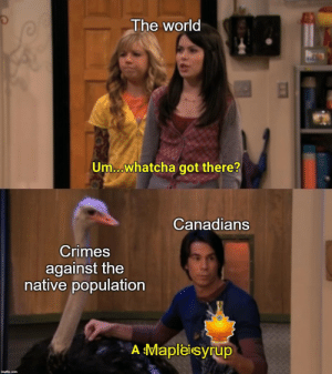 And they almost got away with it: The world  Um...whatcha got there?  Canadians  Crimes  against the  native population  A Mapleisyrup  imgflip.com And they almost got away with it