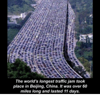 This stresses me out just looking at it.: The world's longest traffic jam took  place in Beijing, China. It was over 60  miles long and lasted 11 days This stresses me out just looking at it.