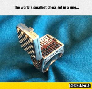 lolzandtrollz:World's Smallest Chess Set: The world's smallest chess set in a ring...  if  THE META PICTURE lolzandtrollz:World's Smallest Chess Set
