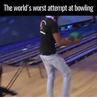 HMB let me show you how it's done 😂: The world's worst attempt at bowling HMB let me show you how it's done 😂