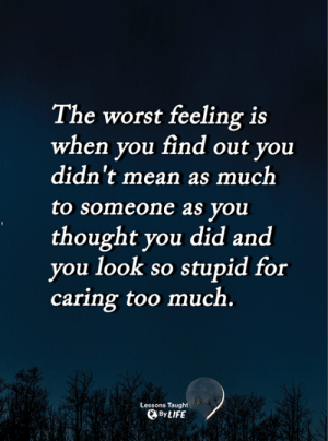 <3: The worst feeling is  when you find out you  didn't mean as much  to someone as you  thought you did and  you look so stupid for  caring too much.  Lessons Taught  ByLIFE <3