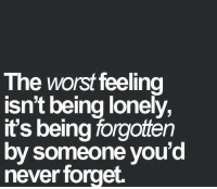 The Worst, Never, and Never Forget: The worst feeling  isn't being lonely,  it's being forgotten  by someone you'd  never forget.