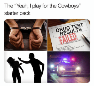 "Every offseason. Tag a cowboys fan: The ""Yeah, I play for the Cowboys""  starter pack  1  DRUG TEST  RESULTS  @GhettoGronk  R INTERNAL USE ONLY!  EMPLOYEE INFORMATION  MPLOYEE NAME: John Doe  ㄷET ADDRESS: 12345 Main Street  ZIP CODE: 123456  -n  STATE: Anywhere  56-7890 Every offseason. Tag a cowboys fan"