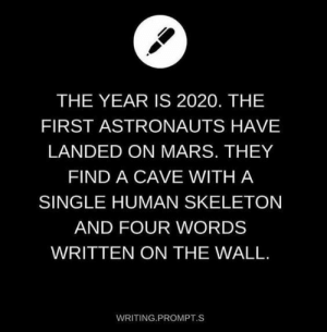 Bad, Beef, and Bones: THE YEAR IS 2020. THE  FIRST ASTRONAUTS HAVE  LANDED ON MARS. THEY  FIND A CAVE WITH A  SINGLE HUMAN SKELETON  AND FOUR WORDS  WRITTEN ON THE WALL  WRITING PROMPT.S theonsetofgay: kalyayev:  twinkcommunist:  weapons-grade-autism:   goldmansachsmassextinctionevent:  1-800-bad-vibes:  carnival-phantasm: pls go to brazil  where is young thug   Please send feet pics  show bobs and vangene   Please excuse the bones  Here Lies Johnny Pisshands  None Pizza Left Beef