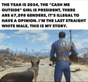 "Wont be long.: THE YEAR IS 2034, THE ""CASH ME  OUTSIDE"" GIRL IS PRESIDENT, THERE  ARE 67,298 GENDERS, IT'S ILLEGAL TO  HAVE A OPINION. I'M THE LAST STRAIGHT  WHITE MALE, THIS IS MY STORY. Wont be long."