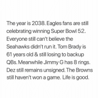 😱😱😱😱😱😱😱👏👏👏 https://t.co/o4vPwrh15u: The year is 2038. Eagles fans are still  celebrating winning Super Bowl 52  Everyone still can't belleve the  Seahawks didn't run it. Tom Brady is  61 years old & still losing to backup  QBs. Meanwhile Jimmy G has 8 rings  Dez still remains unsigned. The Browns  still haven't won a game. Life is good 😱😱😱😱😱😱😱👏👏👏 https://t.co/o4vPwrh15u