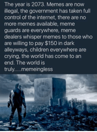 Like JoeBama: The year is 2073. Memes are now  illegal, the government has taken full  control of the internet, there are no  more memes available, meme  guards are everywhere, meme  dealers whisper memes to those who  are willing to pay $150 in dark  alleyways, children everywhere are  crying, the world has come to an  end. The world is  truly memeingless Like JoeBama