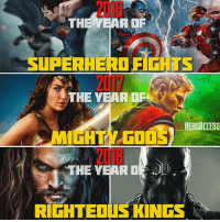 We got a great 2016, so far amazing 2017, and a promising 2018.🙌 Can't wait to see what the other films have in store for us.👊 Which movie are you looking forward to the most? ~ Lopro⚡️ (post inspired by @justice.league.memes ): THE YEAR OF  SUPERHERO FIGHIS  THE YEAR OF  HERDACCESS  THE YEAR O We got a great 2016, so far amazing 2017, and a promising 2018.🙌 Can't wait to see what the other films have in store for us.👊 Which movie are you looking forward to the most? ~ Lopro⚡️ (post inspired by @justice.league.memes )