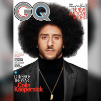 colinkaepernick covers gq (swipe): the year  THE NEW  HEROES  eaturin  OUR COVER  STARS  STEPHEN  COLBERT  GAL GADOT  KEVIN  DURANT  CITIZEN OF  THE YEAR  Colin  Kaepernick colinkaepernick covers gq (swipe)