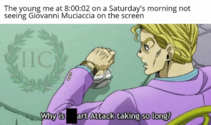 Thanks to Isacco Dalla Costa: The young me at 8:00:02 on a Saturday's morning not  seeing Giovanni Muciaccia on the screen  IIC  Why is art Attack taking so long? Thanks to Isacco Dalla Costa