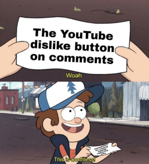 I just really wish it would do something: The YouTube  dislike button  on comments  Woah.  uO uong  ogninoA  This is worthless! I just really wish it would do something
