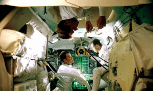 "The zero-gravity scenes in Apollo 13 (1995) were filmed in NASA's ""Vomit Comet"" aircraft. By the end of filming, Tom Hanks, Bill Paxton, and Kevin Bacon had each amassed more ""weightless time"" than any astronaut in history.: The zero-gravity scenes in Apollo 13 (1995) were filmed in NASA's ""Vomit Comet"" aircraft. By the end of filming, Tom Hanks, Bill Paxton, and Kevin Bacon had each amassed more ""weightless time"" than any astronaut in history."