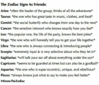 """Clothes, Food, and Friends: The Zodiac Signs As Friends:  Aries  often the leader of the group; thinks of all the adventures*  Taurus: """"the one who has great taste in music, clothes, and food  Gemini: the social butterfly who changes from one day to the next  Cancer: the sensitive introvert who knows exactly how you feel  Leo: """"the popular one, the life of the party, knows the best jokes  Virgo: 'the one who will honestly tell you to get your life together  Libra: 'the one who is always connecting & introducing people*  Scorpio: extremely loyal & is very selective about who they let in  Sagittarius: will talk your ear off about everything under the sun  Capricorn: seems to be guarded at times but can also be a goofba  Aquarius: 'the one who is super eccentric, unique, and rebellious*  Pisces  always knows just what to say to make you feel better  @KnowTheZodiac"""