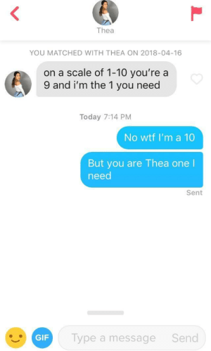 Gif, Tinder, and Wtf: Thea  YOU MATCHED WITH THEA ON 2018-04-16  on a scale of 1-10 you're a  9 and i'm the 1 you need  Today 7:14 PM  No wtf I'm a 10  But you are Thea one  need  Sent  GIF  Type a message  Send You have to take and give on Tinder