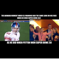 Super Bowl Memes: THEAKWARDMOMENT WHEN ELIMANNINGHAD THE SAMELOOK ON HIS FACE  WHEN HE WON SUPER BOWL XLII  @NFL MEMES  POX  NYG 16 ONE 14  35 TOUCHDOWN NEW YORK  AS HE DID WHEN PEYTON WON SUPER BOWL 50