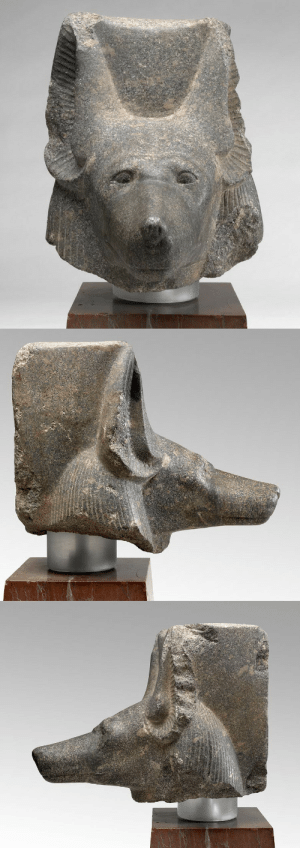 theancientwayoflife:~ Jackal Headed God Anubis. Date: ca. 1386-1349 B.C. Culture: Egyptian Period: 18th Dynasty; reign of Amenhotep III Medium: Carved diorite rock with repairs to the snout.: theancientwayoflife:~ Jackal Headed God Anubis. Date: ca. 1386-1349 B.C. Culture: Egyptian Period: 18th Dynasty; reign of Amenhotep III Medium: Carved diorite rock with repairs to the snout.