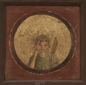 Tumblr, Blog, and Deity: theancientwayoflife:  ~ Medallion depicting the bust of river deity. Fresco from Pompeii Provenance: Naples, National Archaeological Museum (Museo archeologico nazionale di Napoli)