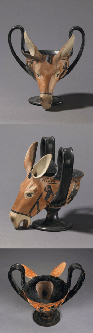 theancientwayoflife:  ~ Pottery: black-figured kantharos with donkey-head attachment. Culture/Period: Attic Date: 520-500 B.C. Place of origin: Attica, Greece Medium: Pottery: theancientwayoflife:  ~ Pottery: black-figured kantharos with donkey-head attachment. Culture/Period: Attic Date: 520-500 B.C. Place of origin: Attica, Greece Medium: Pottery