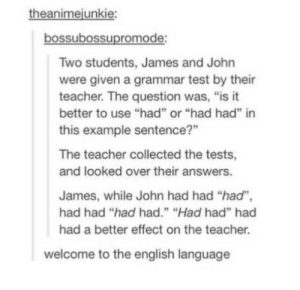 "The English: theanimejunkie:  bossubossupromode:  Two students, James and John  were given a grammar test by their  teacher. The question was, ""is it  better to use ""had"" or ""had had"" in  this example sentence?""  The teacher collected the tests,  and looked over their answers.  James, while John had had ""had"",  had had ""had had."" ""Had had"" had  had a better effect on the teacher.  welcome to the english language"