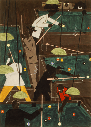 theartsyproject:Jacob Lawrence, Pool Parlor, 1942.: theartsyproject:Jacob Lawrence, Pool Parlor, 1942.