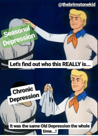 Depression, Time, and Old: @thebrimstonekid  Seasonal  Depression  Let's find out who this REALLY is..  Chronic  Depression  It was the same Old Depression the whole  time...! Meirl