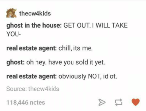 Chill, No Chill, and Ghost: thecw4kids  ghost in the house: GET OUT. I WILL TAKE  YOU  real estate agent: chill, its me.  ghost: oh hey. have you sold it yet.  real estate agent: obviously NOT, idiot.  Source: thecw4kids  118,446 notes no chill ghost