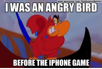 Disney, Facebook, and Iphone: /TheDisney Memes  www.facebook.com  WAS AN ANGRY BIRD  BEFORE THE IPHONE GAME Well done Disney Memes!