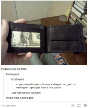Fucking, Fuck, and Nice: thedoctor-and-his-trolls:  tomatogami  tomatogami:  im gonna need to see ur license and regist- oh gosh mr  washington i apologize have a nice day sir  i was high as fuck last night  no but that's fucking gold.  116,766 notes I used to be the president officer.
