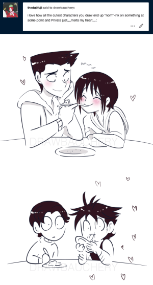 "Love, Tumblr, and Blog: thedujifuji said to drawbauchery:  i love how all the cutest characters you draw end up ""nom""-ink on something at  some point and Private just,.,melts my heart,.   om  nom  nam  DRAWBALGALY   DRSBAUCHER drawbauchery:  nomming and melting hearts is what he's good at"