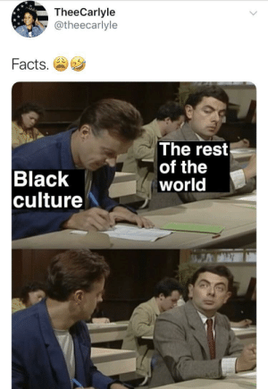 Dank, Facts, and Memes: TheeCarlyle  @theecarlyle  Facts.  The rest  of the  world  Black  culture True tho by yasellpro MORE MEMES