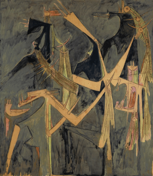 theegoist: Wifredo Lam (Cuban, 1902-1982) - Peinture, Nous T'attendons, oil on paper mounted on canvas, 240.30 x 209.30 cm (1958): theegoist: Wifredo Lam (Cuban, 1902-1982) - Peinture, Nous T'attendons, oil on paper mounted on canvas, 240.30 x 209.30 cm (1958)
