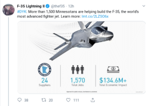 Jobs, Lightning, and F-35: @thef35 12h  F-35 Lightning I  #DYK: More than 1,500 Minnesotans are helping build the F-35, the world's  most advanced fighter jet. Learn more: Imt.co/2LZS06x  TNNG  UGH  DE  $134.6M+  Total Economic Impact  1,570  Total Jobs  Suppliers  Agproved er pubc ease disbton is un  111  ti 20  38  24 Ad astro turf