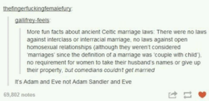Dam celts: thefingerfuckingfemalefury  More fun facts about ancient Celtic marriage laws: There were no laws  against interclass or interracial marriage, no laws against open  homosexual relationships (although they weren't considered  marriages' since the definition of a marriage was 'couple with child),  no requirement for women to take their husband's names or give up  their property, but comedians couldnt get married  It's Adam and Eve not Adam Sandler and Eve  69,802 notes Dam celts
