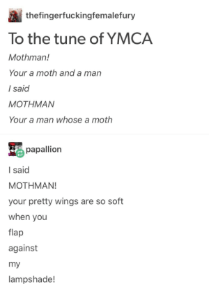 Its fun to swat at the M O T H!: thefingerfuckingfemalefury  To the tune of YMCA  Mothman!  Your a moth and a man  I said  MOTHMAN  Your a man whose a moth  papallion  I said  MOTHMAN!  your pretty wings are so soft  when you  flap  against  my  lampshade! Its fun to swat at the M O T H!