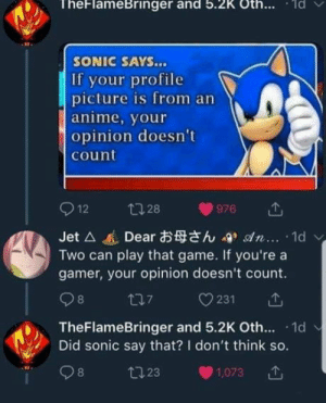Anime, Game, and Sonic: TheFlameBringer and 5.2K Oth.. d  SONIC SAYS...  If your profile  picture is from an  anime, your  opinion doesn't  count  Jet △進Dearお母さん-9, son. .. . 1d  Two can play that game. If you're a  gamer, your opinion doesn't count.  TheFlameBringer and 5.2K Oth. 1d  Did sonic say that? I don't think so.  8  23  1,073 Sonic is always right