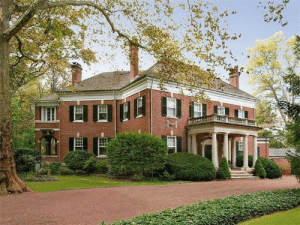 thefoodogatemyhomework:  Brick Georgian revival style home by John Russell Pope in Princeton, New Jersey, c1900. Love the hefty weight of the structure, the asymmetry, the thick white cornice, the keystones above every black shutter clad window, the stone flower swags, and that big ol' portico. : thefoodogatemyhomework:  Brick Georgian revival style home by John Russell Pope in Princeton, New Jersey, c1900. Love the hefty weight of the structure, the asymmetry, the thick white cornice, the keystones above every black shutter clad window, the stone flower swags, and that big ol' portico.