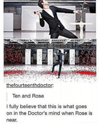 Memes, 🤖, and The Doctors: thefourteenthdoctor:  Ten and Rose  l fully believe that this is what goes  on in the Doctor's mind when Rose is  near. mattsmith doctorwho eleven tardis fezesarecool DW bowtiesarecool drwho davidtennant Christophereccleston petercapaldi ten twelve nine