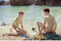 God, Oh My God, and Tumblr: thegirlinthebyakko: positively-lgbtq:  harcules:  moika-palace: Comrades, Henry Scott Tuke 1924. Two bros chilling at the beach 5 feet apart cuz they're not gay    …and they were comrades  oh my god, they were comrades