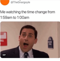 Friends, Gif, and Memes: @TheGnargoyle  Me watching the time change from  1:59am to 1:00am  GIF Dm to 5 friends if you were still awake 😎