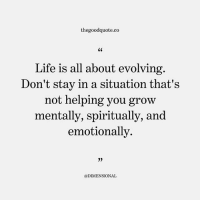 Life, Memes, and Quotes: thegoodquote.co  S0  Life is all about evolving  Don't stay in a situation that's  not helping you grow  mentally, spiritually, and  emotionally  35  @DIMENSIONAL Follow @thegoodquote.co for more quotes. thegoodquote 🌻