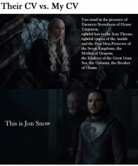 By sahir palijo: Their CV vs. My CV  You stand in the presence of  Daenerys Stormborn of House  Targaryen,  rightful heir to the Iron Throne,  rightful Queen of the Andals  and the First Men,Protector of  the Seven Kingdoms, the  Mother of Dragons,  the Khaleesi of the Great Grass  Sea, the Unburnt, the Breaker  of Chains.  This is Jon Snow By sahir palijo