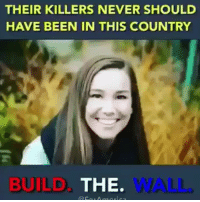 Memes, Never, and Been: THEIR KILLERS NEVER SHOULD  HAVE BEEN IN THIS COUNTRY  BUILD  THE.  WALL. Mollie Tibbetts, Kate Steinle,, Tessa Tranchant Dominic Durden, Grant Ronnenbeck, Jamica Williams, Kevin Will, Nabra Hassanen, Jamiel Shaw, Jose Chavez, Lauren Bump, Sarah Root, Edwin Jackson …and thousands more. None of their killers should have been in this country.