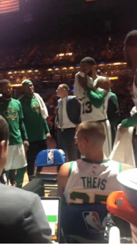 Via, Marcus Morris, and Get: THEIS Jaylen Brown and Marcus Morris had to get separated during a timeout...  (via ahubbtho/IG)