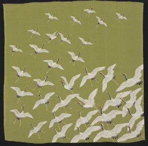 thekimonogallery: Furoshiki (Wrapping Cloth)Date:early Shôwa period (1926–1989), 1926/35 Medium:Rayon, plain weave with creped wefts (chirimen); stenciled and resist dyed (yûzenzome: utsushinori, ita-age, suri yûzenzome and shigokizome)Dimensions68.2 x 67 cm (26 7/8 x 26 3/8 in.)Credit LineGift of Mary V. and Ralph E. Hays : thekimonogallery: Furoshiki (Wrapping Cloth)Date:early Shôwa period (1926–1989), 1926/35 Medium:Rayon, plain weave with creped wefts (chirimen); stenciled and resist dyed (yûzenzome: utsushinori, ita-age, suri yûzenzome and shigokizome)Dimensions68.2 x 67 cm (26 7/8 x 26 3/8 in.)Credit LineGift of Mary V. and Ralph E. Hays