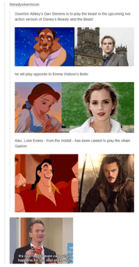 downton: theladysilvermoon  Downton Abbey s Dan Stevens is to play the beast in the upcoming live  action version of Disney's Beauty and the Beast  he will play opposite to Emma Watson's Belle  Also, Luke Evans from the Hobbit has been casted to play the villain  Gaston  CEL  It's like I don  even care what  rest day