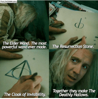 Memes, 🤖, and Resurrection: TheLifeofAWeaslev  The Elder Wand. The most  powerful wand ever made.  The Resurrection Stone.  Together they make The  The Cloak of Invisibility.  Deathly Hallows. Creds to @thelifeofaweasley I love this ... have a great day ! QOTP Which of the deathly hallows is your favorite ?