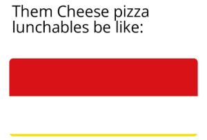 Be Like, Pizza, and Reddit: Them Cheese pizza  lunchables be like: You know what I'm talkin about