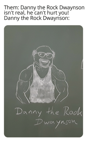 The Rock, Dank Memes, and Roc: Them: Danny the Rock Dwaynson  isn't real, he can't hurt you!  Danny the Rock Dwaynson:  Danny the Roc  k  Dwa  aynson I'm more than afraid
