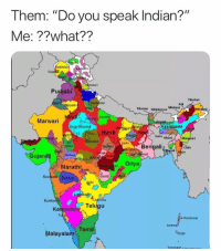 "tamil: Them: ""Do you speak Indian?""  Me: ??what??  ashmir  Guja  ri  Knauri  Purdjabi  Tibetan  Kumponi  rdu  gri  Adi  yanv  Tibetan Sikkimese  Mishmi  Mistimi  Awadhi  Marwari  Braj Bhasth  ri  ait  Assamese  lot  agabi  Garo Khasi  Manipuri  ndeli  Sadri  Bengalig Ch  Malvi  Baghpli  20  ntali  Gujarą  Nimadi  Oriya  Marathi  Konkant Deccan  du  Konka  henchu  Kahnada Telugu  Tt  A-Pucikwar  Jarawa  Malayalam Tamil  Onge  Teressas"